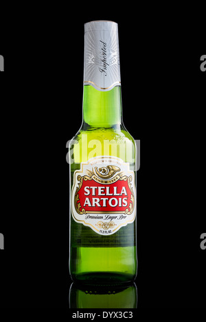 USA imported Stella Artois beer bottle - Stock Photo