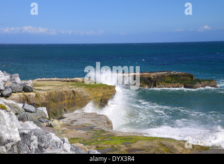 Crashing sea waves pound Santa Cruz's rocky shore line' - Stock Photo