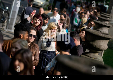 hundreds of people line up in new york for a job fair sponsored by stock photo royalty free. Black Bedroom Furniture Sets. Home Design Ideas