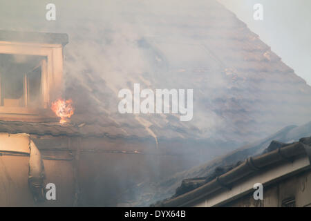 Blackpool hotel fire The Misterton on Blundell street - Stock Photo