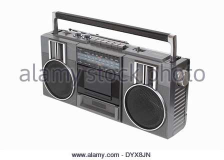 Retro portable radio cassette player from the 80's. Isolated on white with path - Stock Photo