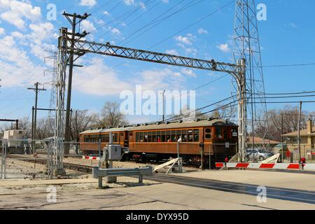 Skokie, Illinois USA. 26th April 2014. In celebration of 50 years of operation of the Skokie Swift (Yellow Line), - Stock Photo