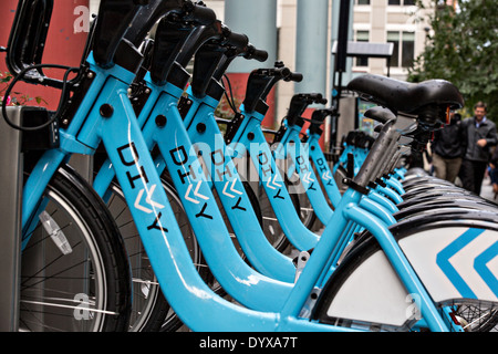Divvy bike share stand in the Loop district Chicago, Illinois USA - Stock Photo