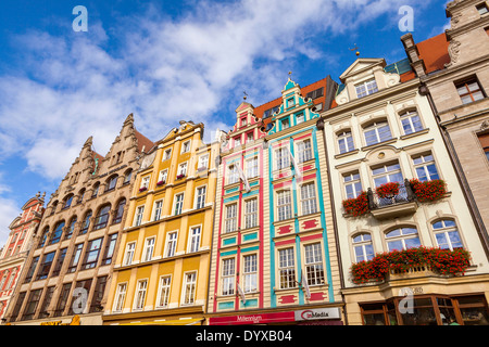 Colorful architecture, Market Square, Wroclaw, Lower Silesia, Poland, Europe. - Stock Photo