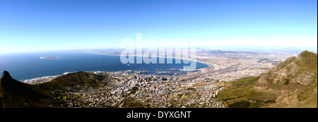 Panorama view over Cape Town in South Africa from Table mountain - Stock Photo