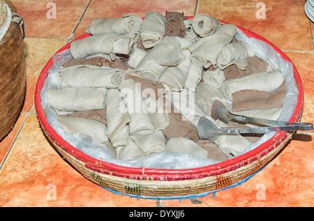 Injera, Authentic Ethiopian Dish in Addis Ababa, Ethiopia - Stock Photo