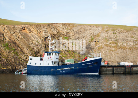 The Good Shepherd IV Fair Isle ferry and cargo ship, moored at ...