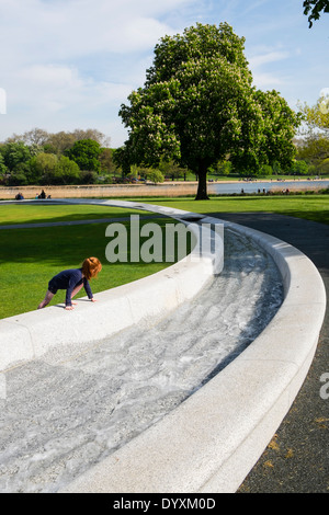Princess Diana memorial fountain in Hyde Park London United Kingdom - Stock Photo