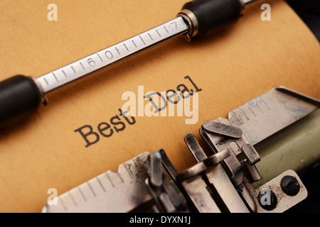 Best deal text on typewriter - Stock Photo