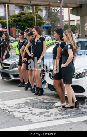 Mercedes Benz models with pace cars at the 2014 Mercedes-Benz Corporate Run in Miami, Florida, USA. - Stock Photo