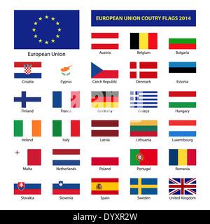 European Union country flags, member states EU - Stock Photo