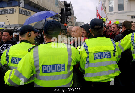 Trouble flares at the March for England Rally in Brighton today.About 100 people took part in the rally which caused major disruption in the city with a massive police presence trying to keep anti fascist protesters away from the marchers