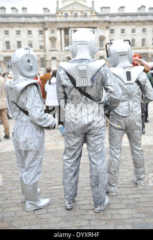 Somerset House, London, UK. 27th April 2014. THree Cybermen in Somerset House for the Sci-Fi London Festival Costume - Stock Photo
