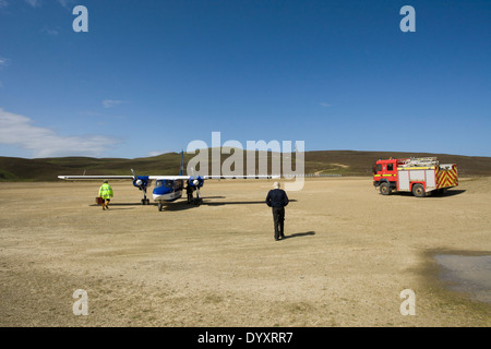 Direct Flight Islander plane on Fair Isle airstrip, Fair Isle ...