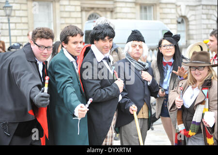 Somerset House, London, UK. 27th April 2014. Multiple Doctor Who's pose in Somerset House for the Sci-Fi London - Stock Photo