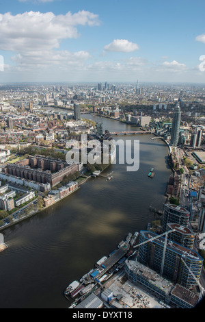 River Thames from the air, looking East - Stock Photo