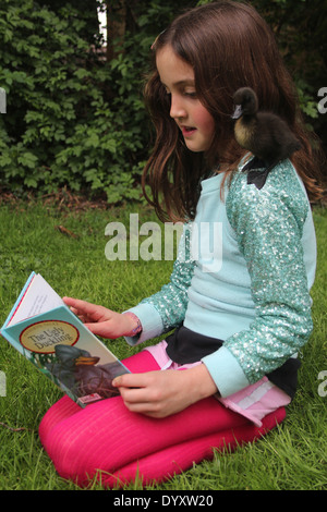 Young girl reading the ugly duckling story to her real pet cayuga duckling, whilst it sits on her shoulder, UK - Stock Photo