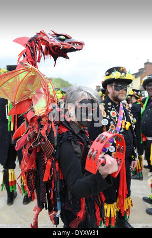 Morris Dance Festival at Ironbridge, Telford, Uk  April 27th 2014. A Gathering of Border Morris dancing teams which - Stock Photo