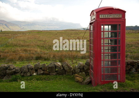 Traditional,old fashioned,British,red phone box at remote and isolated location on the Isle of Mull, Argyle, Scotland,UK - Stock Photo