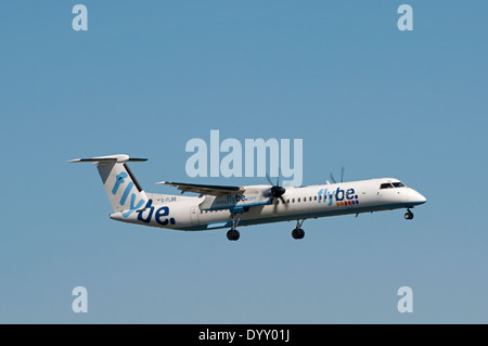 Flybe DHC-8-402 F-LBB Dash 8 arriving at Aberdeen Dyce airport. SCO 9071. - Stock Photo
