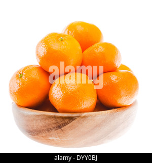 Tasty sweet tangerine orange mandarin mandarine fruit in wooden bowl isolated on white background - Stock Photo