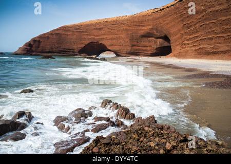 Red arches on atlantic ocean coast, Legzira beach, Sidi Ifni, Morocco, North Africa