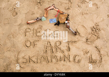 London, UK. 27th Apr, 2014. Creations of sand artist Martin Artman, near Gabriels Wharf, Southbank, London, UK on - Stock Photo