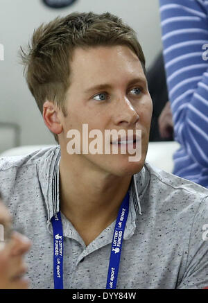 London, UK. 27th Apr, 2014. Dustin Lance Black looks on from the stands during Men's 10M Platform of FINA/NVC Diving - Stock Photo