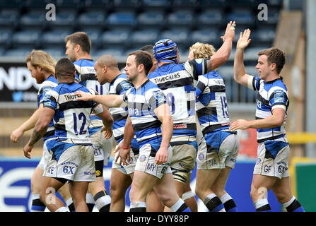 High Wycombe, UK. 27th Apr, 2014. Bath players celebrate a try during the Amlin Cup Semi Final between London Wasps - Stock Photo