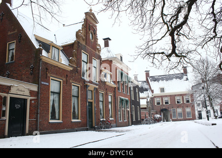Martinikerhof, one of the oldest squares in the old medieval center of  Groningen, The Netherlands in winter - Stock Photo