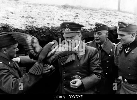 Adolf Hitler on a visit in anti-aircraft position, 1939 - Stock Photo