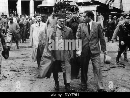 Adolf Hitler with Albert Speer on the rally grounds in Nuremberg, 1936 - Stock Photo