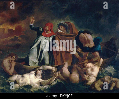 Eugene Delacroix The Barque of Dante (Dante and Virgil in the Underworld) - Stock Photo