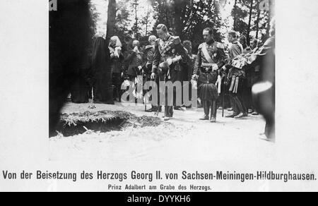 Prince Adalbert at the funeral of Duke Georg II., 1914 - Stock Photo