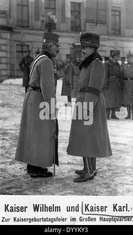 Emperor Wilhelm II. and Emperor Charles I., 1917 - Stock Photo