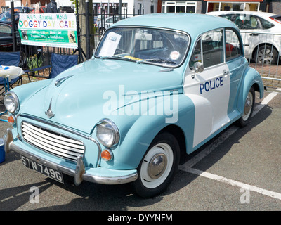 Morris Minor police car on display in Sandbach Cheshire UK - Stock Photo