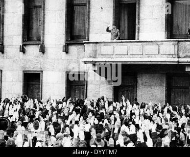 Hitler on the balcony of the 5th anniverary of the seizure of power, 1936 - Stock Photo