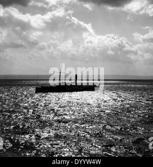 Ship traffic on Lake Constance, 1939 - Stock Photo