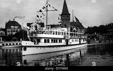 Ship on Lake Constance in Bregenz, 1929 - Stock Photo