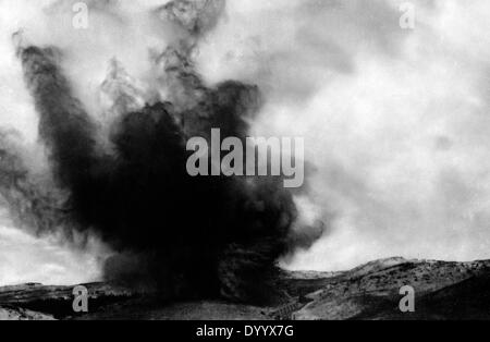 Impact of a shell during the Battle of Tannenberg, 1914 - Stock Photo
