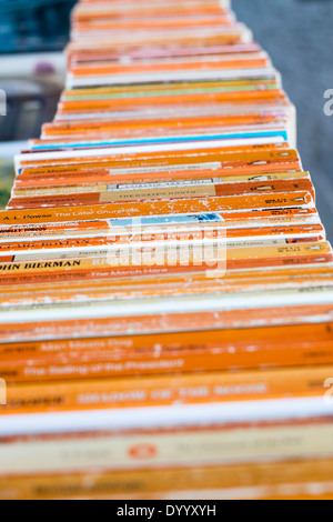 Second-hand book stalls on the Thames at Southbank in central London United Kingdom - Stock Photo