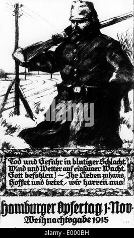 Poster with an idealized German soldier, 1915 - Stock Photo
