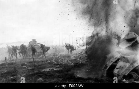 English attack on the Western Front, 1918 - Stock Photo