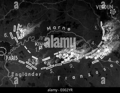 Map of the First Battle of the Marne, 1914 - Stock Photo
