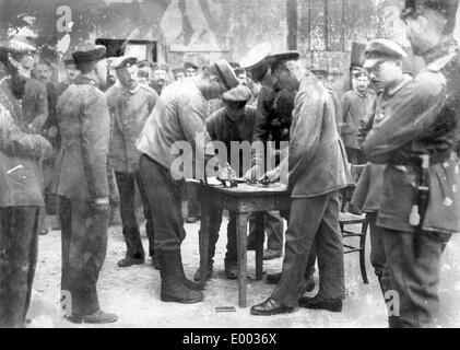 German soldiers receiving their payment, 1917 - Stock Photo
