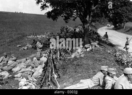 Austro-Hungarian troops during a halt, 1915 - Stock Photo