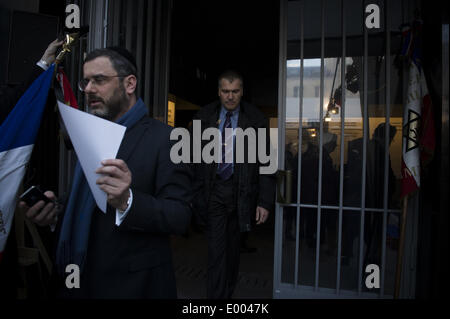 Paris, France. 27th Apr, 2014. French jewish veterans attend the Yom HaShoah commemoration ceremony at the Shoah - Stock Photo