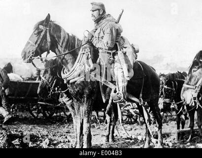 Austro-Hungarian soldier on horseback, 1915 - Stock Photo