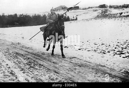German dispatch rider in Russian Poland, 1915 - Stock Photo