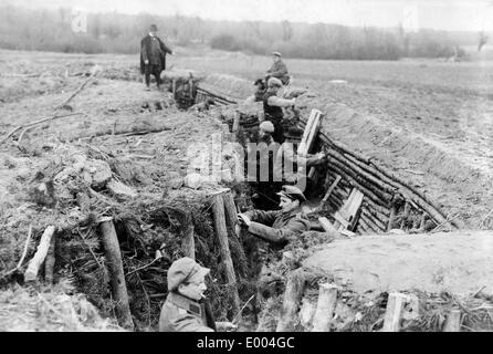Landsturm soldiers inside a trench in Russian Poland, 1915 - Stock Photo